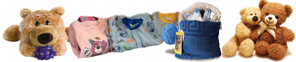 Stuffed Toys, Pyjamas and Towel basket filled with toileteries
